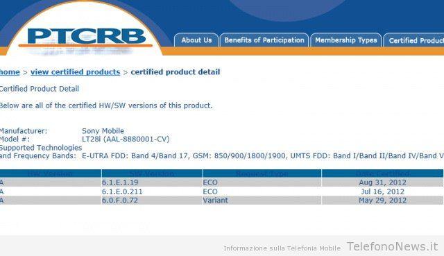 Sony Xperia Ion: nuovo certificato e firmware 6.1.E.1.19!