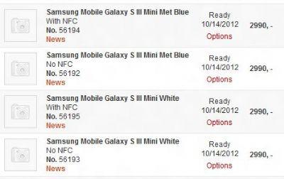 Il Samsung Galaxy SIII mini verrà prodotto in bianco o blu, con o senza NFC!