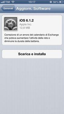 Apple rilascia ufficialmente iOS 6.1.2. Corretto per ora solo bug di Exchange!!