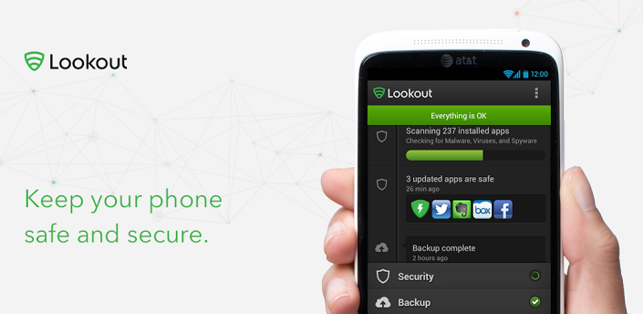 Android: provate Antivirus e Sicurezza, Lookout Mobile Security