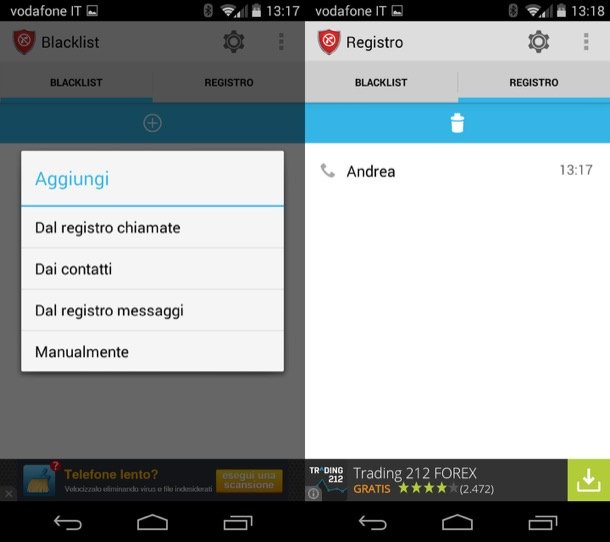 Bloccare telefonate su Android