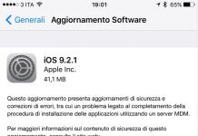 Aggiornamento iOS 9.2.1