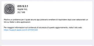Aggiornamento iOS 9.3.1
