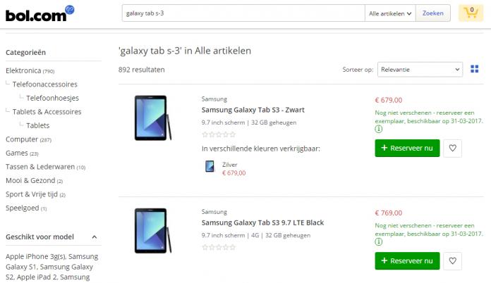 Prezzo Galaxy Tab S3