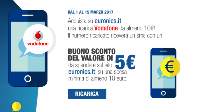 Ricarica Vodafone per ricevere un buono sconto Euronics
