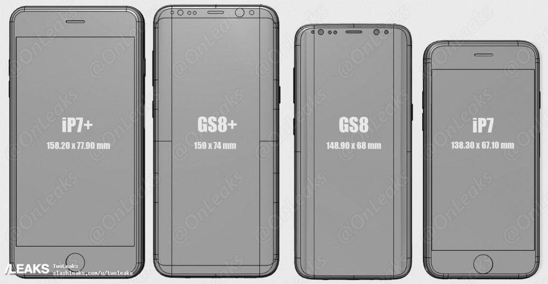 samsung galaxy s8 vs iphone 7 grandezze a confronto