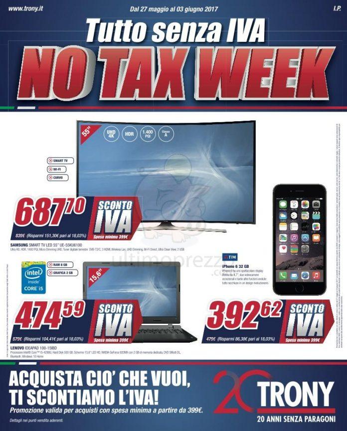 """Volantino Trony: Arriva """"No Tax Week"""", Valido Dal 27"""