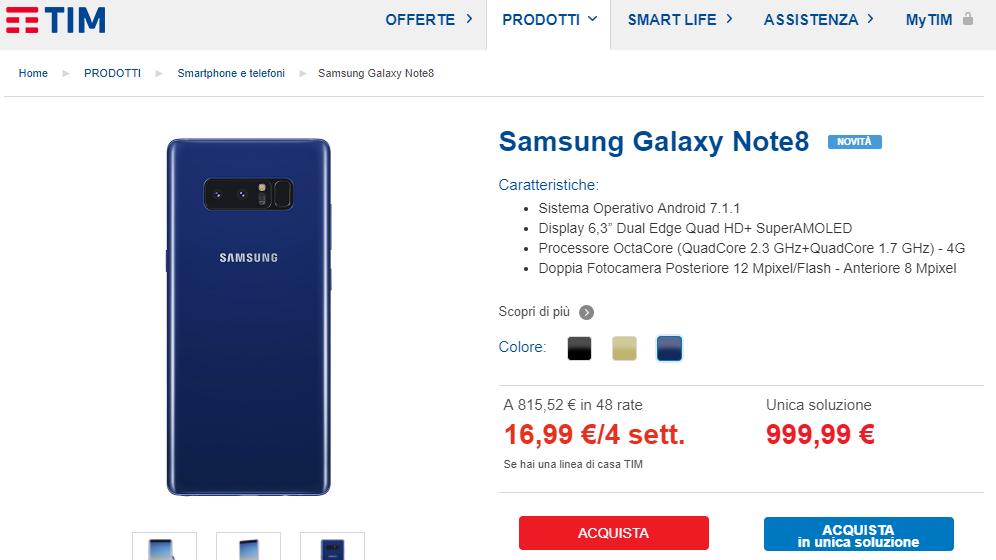Samsung Galaxy Note 8 in colorazione blu con TIM