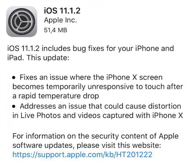 IPhone X: risolto il bug del freddo con iOS 11.1.2