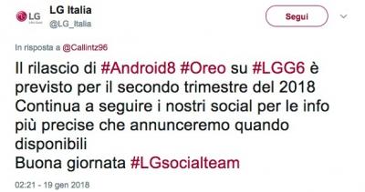 Aggiornamento Oreo LG G6
