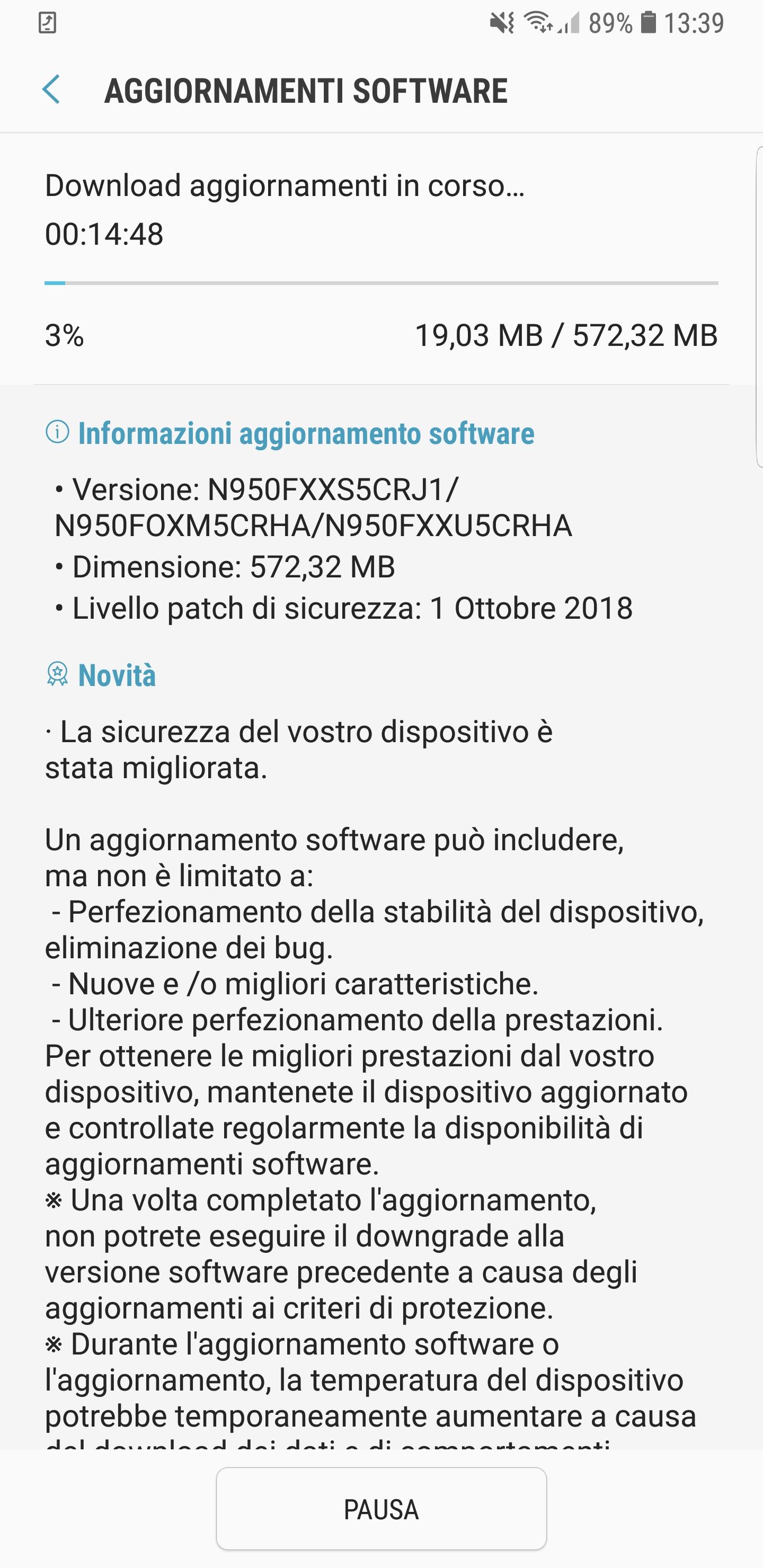 Aggiornamento Samsung Galaxy A8 2018