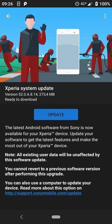 Aggiornamento Sony