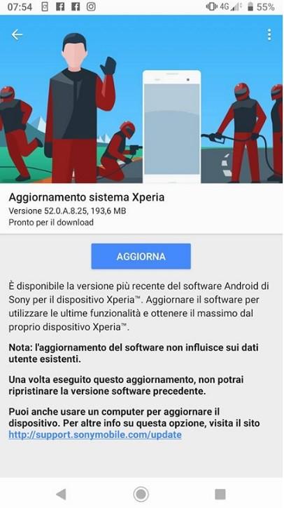 Aggiornamento Sony Xperia XZ3